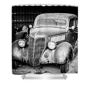 Vintage Autos In Black And White Shower Curtain
