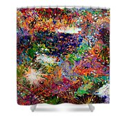 16-3 Red Space Shower Curtain