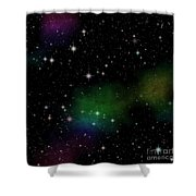 Abstract Stars Nebula Shower Curtain