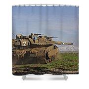 An Israel Defense Force Merkava Mark Iv Shower Curtain