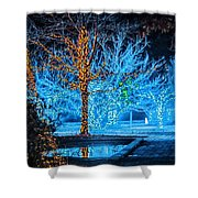 Christmas Season Decorations And Lights At Gardens Shower Curtain