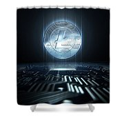 Cryptocurrency And Circuit Board Shower Curtain