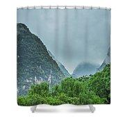 Karst Mountains Rural Scenery Shower Curtain