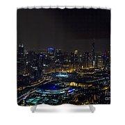 Chicago Night Skyline Aerial Photo Shower Curtain