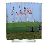 17 Flags 7 People 1 Tree Trunk Shower Curtain