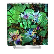 Jeweled Water Lilies Shower Curtain