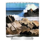 17 Mile Drive Pacific Ocean  Shower Curtain