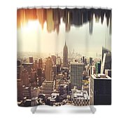 New York Midtown Skyline - Aerial View Shower Curtain