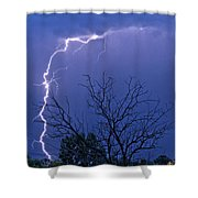 17 Street To Hygiene Lightning Strike. Shower Curtain
