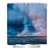 Volcano Eruption At The Holuhraun Shower Curtain