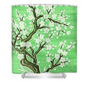 White Tree In Blossom, Painting Shower Curtain