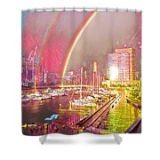 Docklands Double Rainbow Shower Curtain