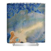 18. V1 Blue, Green, And Brown Glaze Painting Shower Curtain