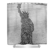 18,000 Officers And Men Form The Statue Of Liberty At Camp Dodge In Iowa. 1917 Shower Curtain