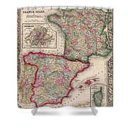 1800s France, Spain And Portugal County Map Color Shower Curtain