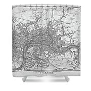 1800s London Map Black And White London England Shower Curtain