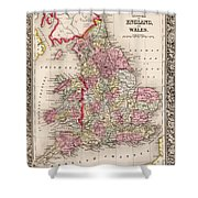 1800s Wales County Map Wales England Color Shower Curtain