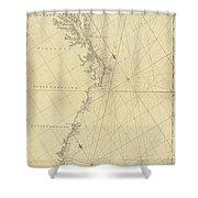 1807 North America Coastline Map Shower Curtain
