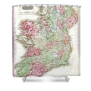 1818 Pinkerton Map Of Ireland Shower Curtain
