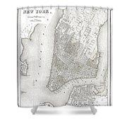 1839 New York City Map Shower Curtain