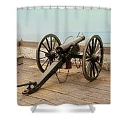 1841 Model Six Pounder Cannon At Fort Mackinac Shower Curtain