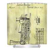 1845 Locomotive Patent Shower Curtain