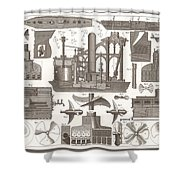 1850 Construction Of Steam Ship Shower Curtain