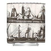 1850 European Sailing Ship Shower Curtain