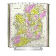 1850 Vintage Map Of Ireland Shower Curtain