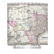 1855 Texas Map Shower Curtain