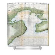 1857  Coast Survey Map Of St. Louis Bay And Shieldsboro Harbor, Mississippi  Shower Curtain