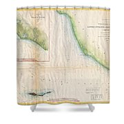 1857  Coast Survey Map Of The Eastern Entrance To Santa Barbara Channel Shower Curtain