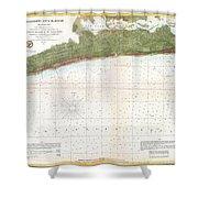1857 U.s. Coast Survey Map Or Chart Of Mississippi City Harbor, Mississippi Shower Curtain