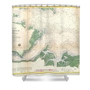 1857 U.s. Coast Survey Map Or Chart Of The Entrance To The York River, Virginia Shower Curtain