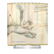 1857 U.s. Coast Survey Map Or Chart Of The Mouth Of St. Johns River, Florida Shower Curtain