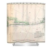 1857 U.s. Coast Survey Triangulation Map Of Matagorda Bay To Galveston Bay, Texas Shower Curtain