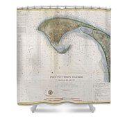 1857 U.s.c.s. Map Of Provincetown Harbor, Cape Cod, Massachusetts Shower Curtain
