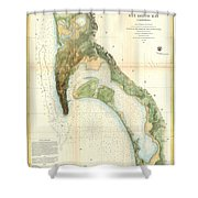 1857 U.s.c.s. Map Of San Diego Bay, California Shower Curtain