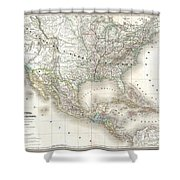 1858 Dufour Map Of The United States  Shower Curtain