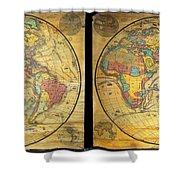 1858 Set Of Two Pelton Wall Maps, Western Hemisphere And Eastern Hemisphere  Shower Curtain
