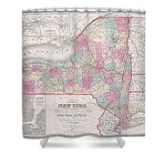 1858 Smith - Disturnell Pocket Map Of New York Shower Curtain