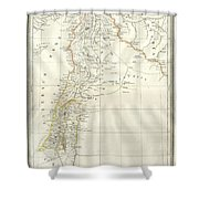 1859 Alabern Map Of Israel, Palestine, Or Holy Land And Syria In Ancient Times Shower Curtain