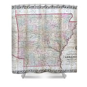 1859 Colton Pocket Map Of Arkansas  Shower Curtain