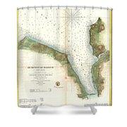 1859 U.s. Coast Survey Chart Or Map Of Hempstead Harbor, Long Island, New York  Shower Curtain