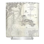 1859 U.s. Coast Survey Map Of Lynn Harbor, Massachusetts Shower Curtain