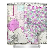 1862 Map Of Texas Shower Curtain