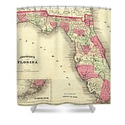 1864 Florida Map Color Shower Curtain