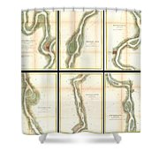 1865 Us Coast Survey Map Of The Mississippi River From Cairo Il To St Marys Mo  Shower Curtain
