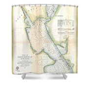 1865 Us Coast Survey Map Or Chart Of Providence Rhode Island Shower Curtain