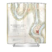 1865 Uscs Map Of The Mississippi River From Cairo Illinois To St Marys Missouri  Shower Curtain